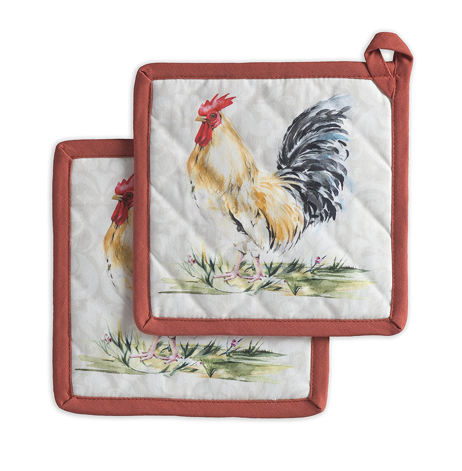 Maison d' Hermine Campagne 100% Cotton Set of 2 Pot Holders 8 Inch by 8 Inch Aspero