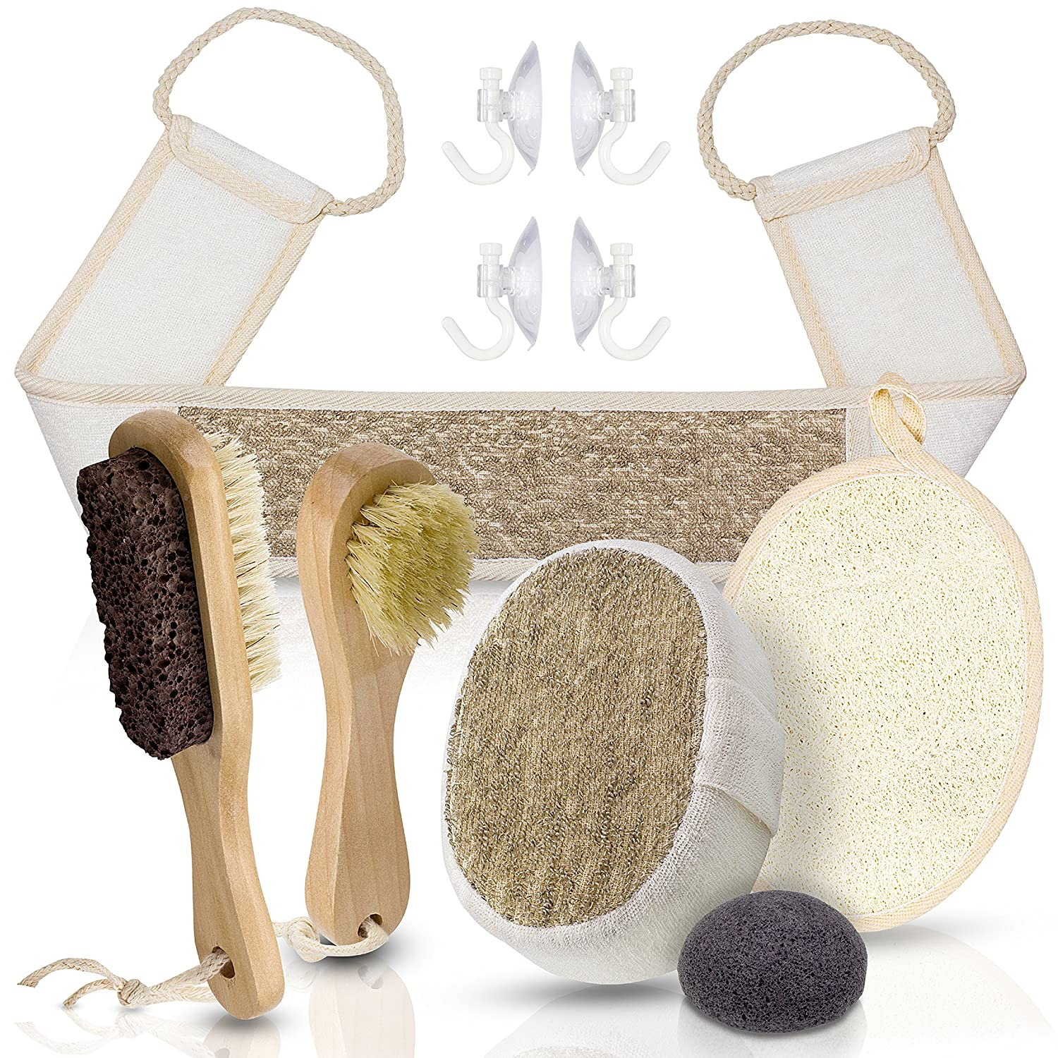 Home Spa Set - Brush, Scrub, Exfoliate, Wash - Face and Body with Konjac Sponge, Loofah, Back and Foot Scrubbers, Facial Brush, Pumice Stone and Body Sponge Comes with Hooks and Mesh Storage Bag. Healthy Home Helper