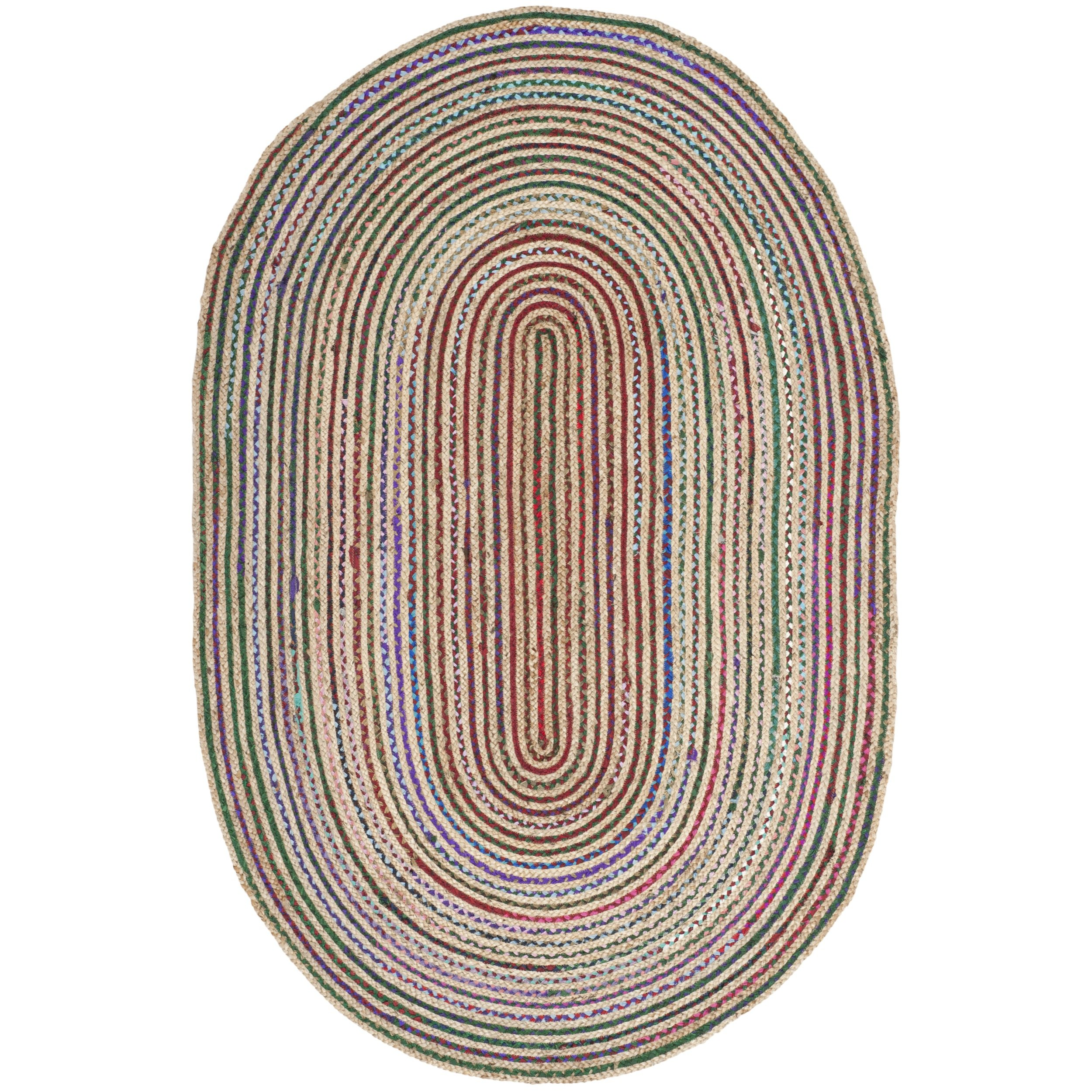 Safavieh Cape Cod Collection CAP251A Hand Woven Natural and Multicolored Jute Oval Area Rug (4' x 6')