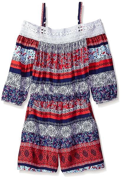 c51eab50d2c39 Amazon.com: Amy Byer Girls' Big Shoulder Multi Stripe Romper with Lace  Trim: Clothing
