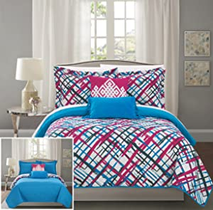 Chic Home Gingham 4 Piece Reversible Quilt Set Abstract Print Design Coverlet Bedding - Decorative Pillows Sham Included/XL SizeFuchsia, Twin, Fuschia
