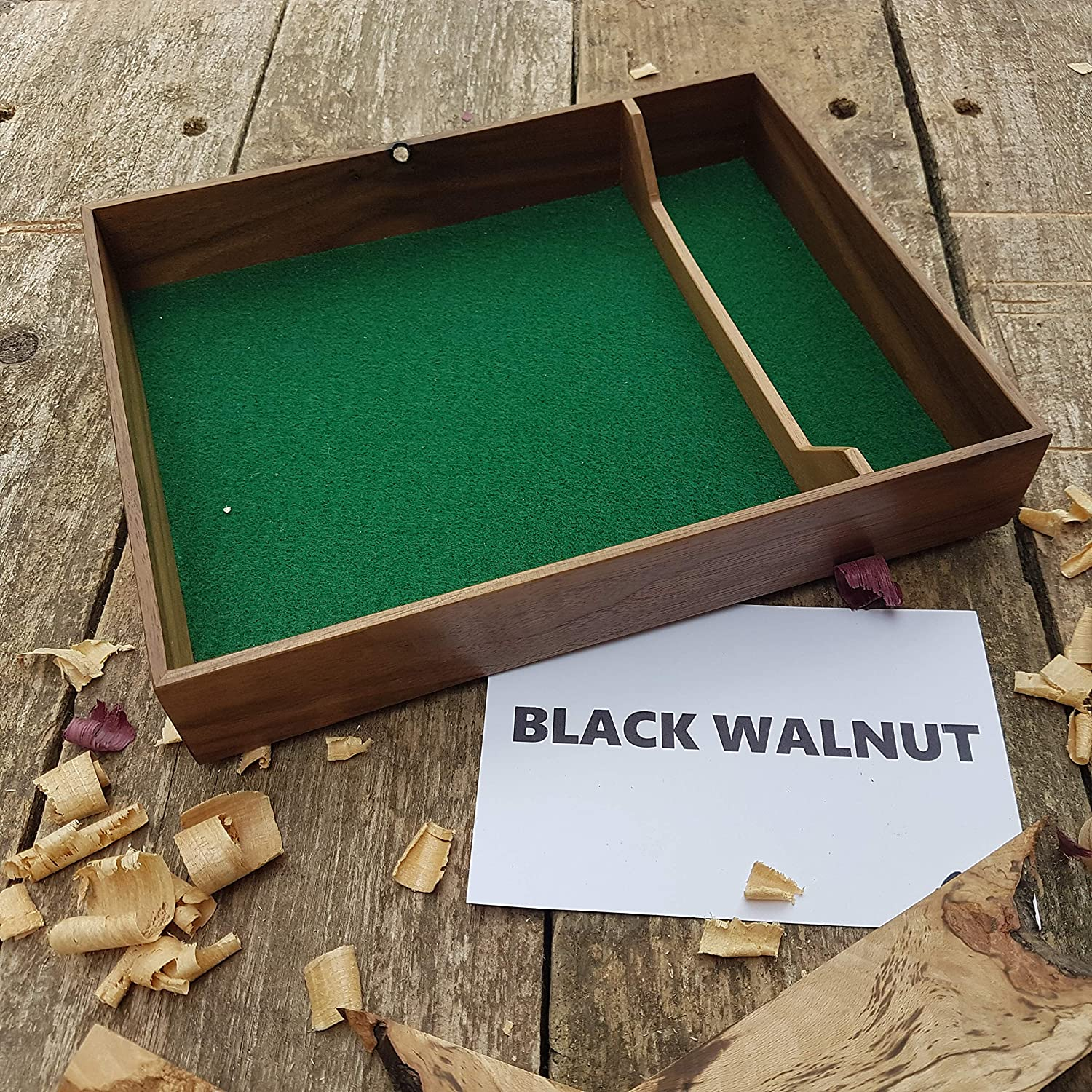 Black Walnut dice tray - dice box for dungeons and dragons, pathfinder, or any rpg - great as valet tray or gift for a Critical Role fan