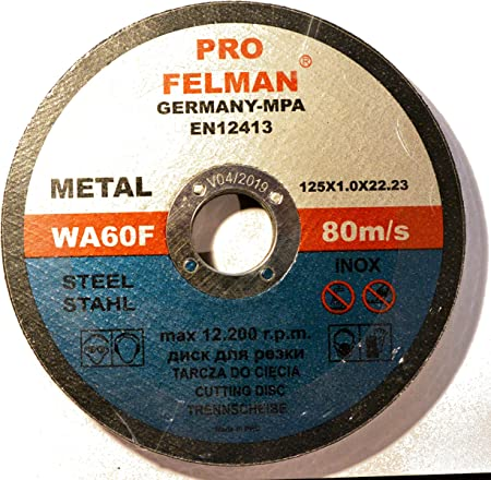Lot de 10/Disque /à tron/çonner pour acier inoxydable 125/x 1,0/mm T41/Metal Platinum a60tbf