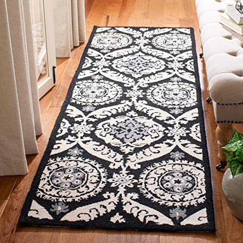 Safavieh Chelsea Collection HK356A Hand-Hooked Black and Ivory Premium Wool Round Area Rug 3 Diameter