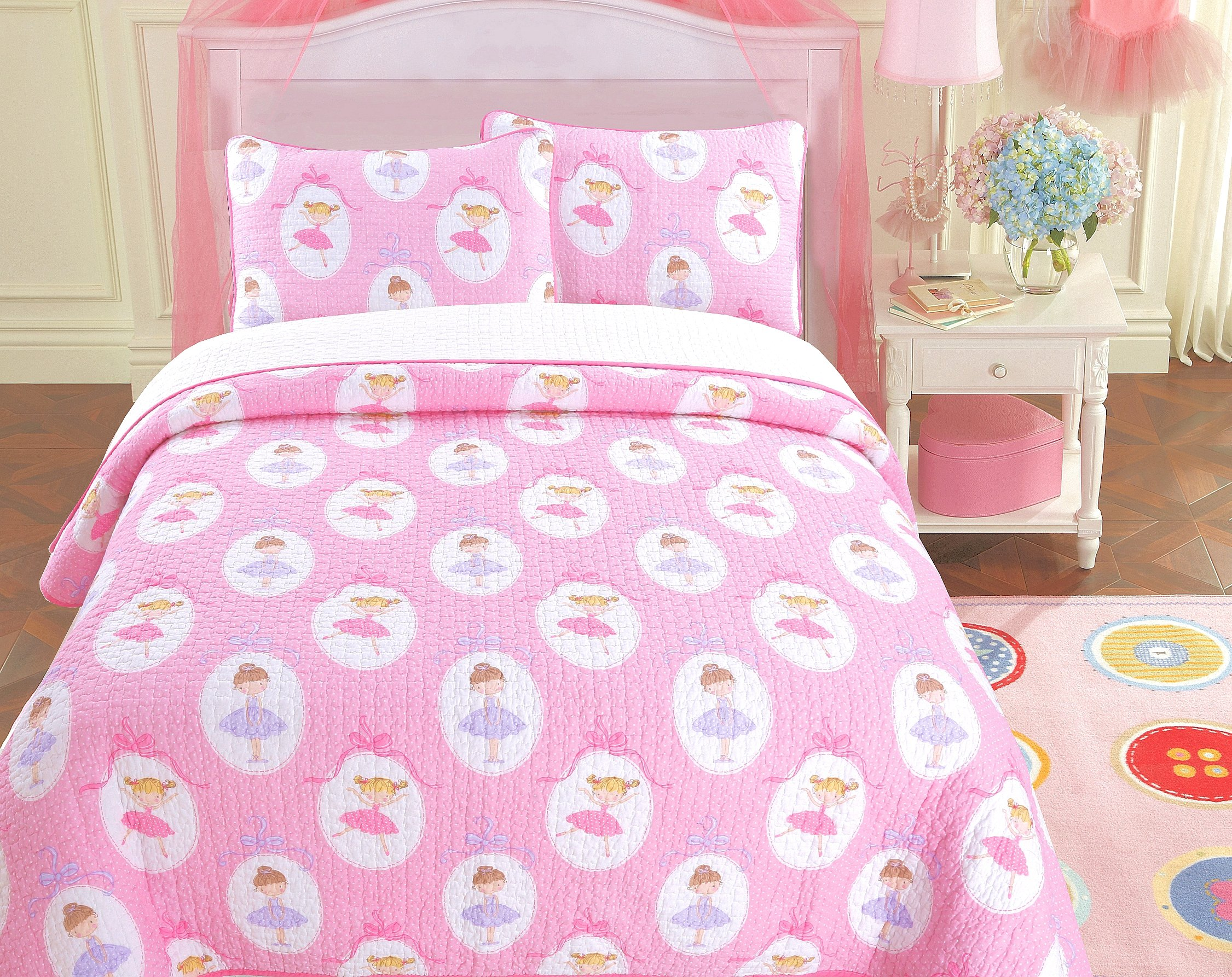 Cozy Line Home Fashions Ballerina Dance Princess Bedding Quilt Set, Pink Orchid Light Purple 100% Cotton Bedspread for Kids Girl (Pink Print, Twin - 2 Piece)