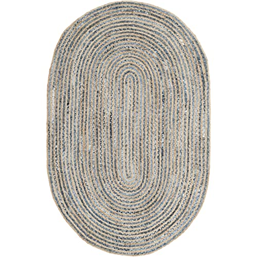 Safavieh Cape Cod Collection Hand Woven Natural and Blue Jute Oval Area Rug 4 x 6