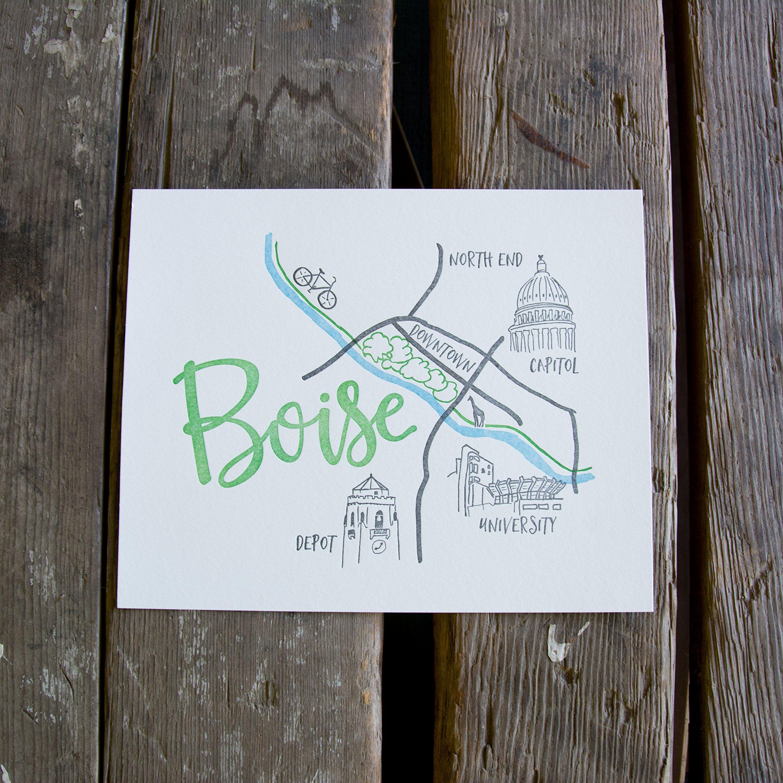 Boise Map Art Print, letterpress art print eco friendly