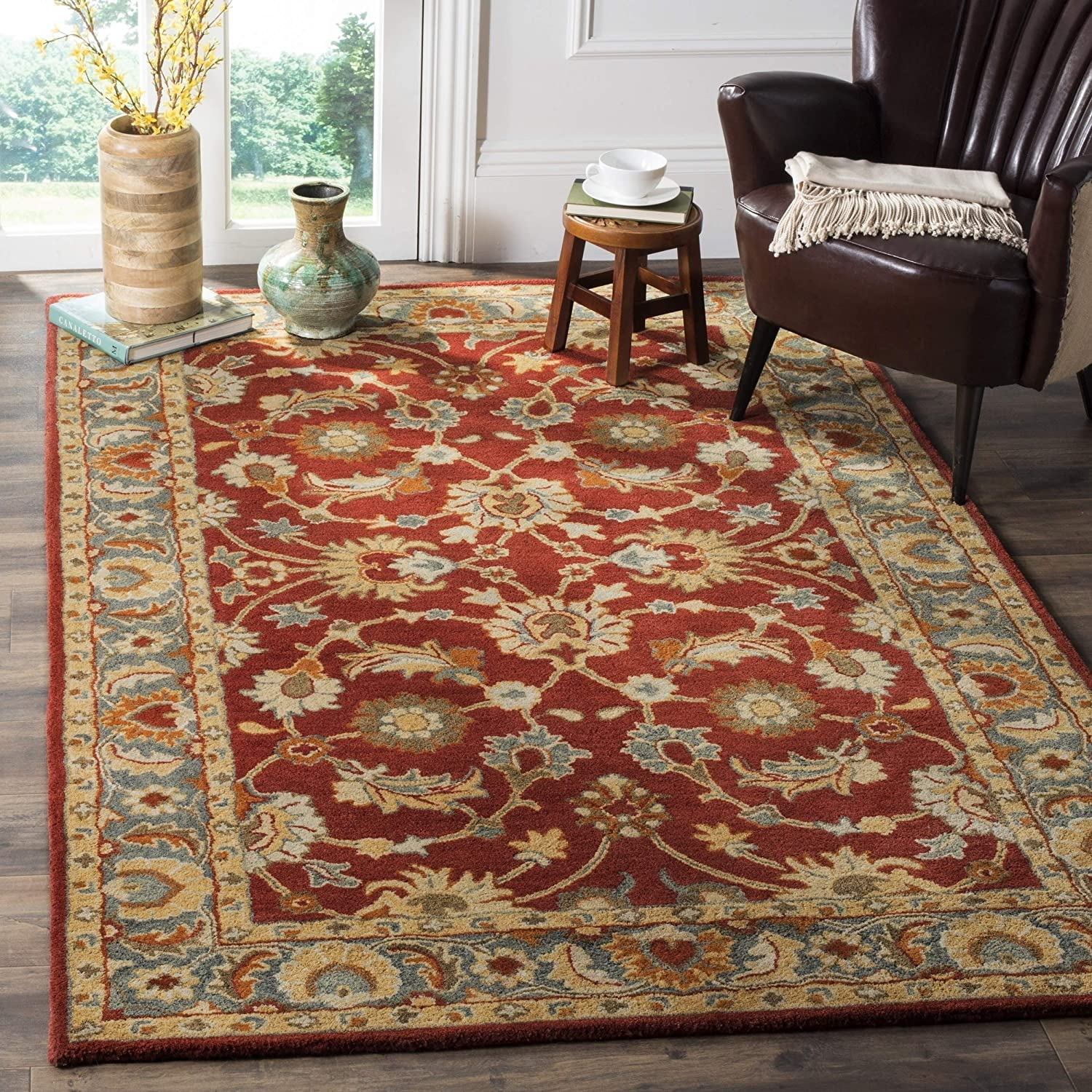 Safavieh Heritage Collection HG403A Handmade Traditional Oriental Premium Wool Area Rug, 5' x 8', Red / Blue