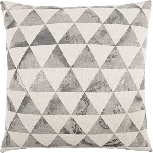 Rizzy Home T13190 Decorative Pillow, 20 X20 , Gray Ivory