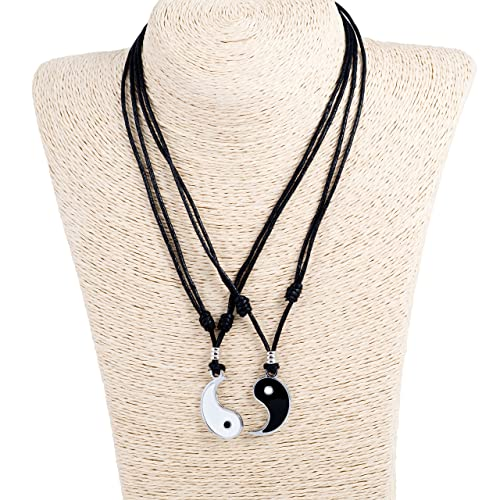 Amazon yin yang pendant couple set on adjustable black rope yin yang pendant couple set on adjustable black rope cord necklaces aloadofball Image collections