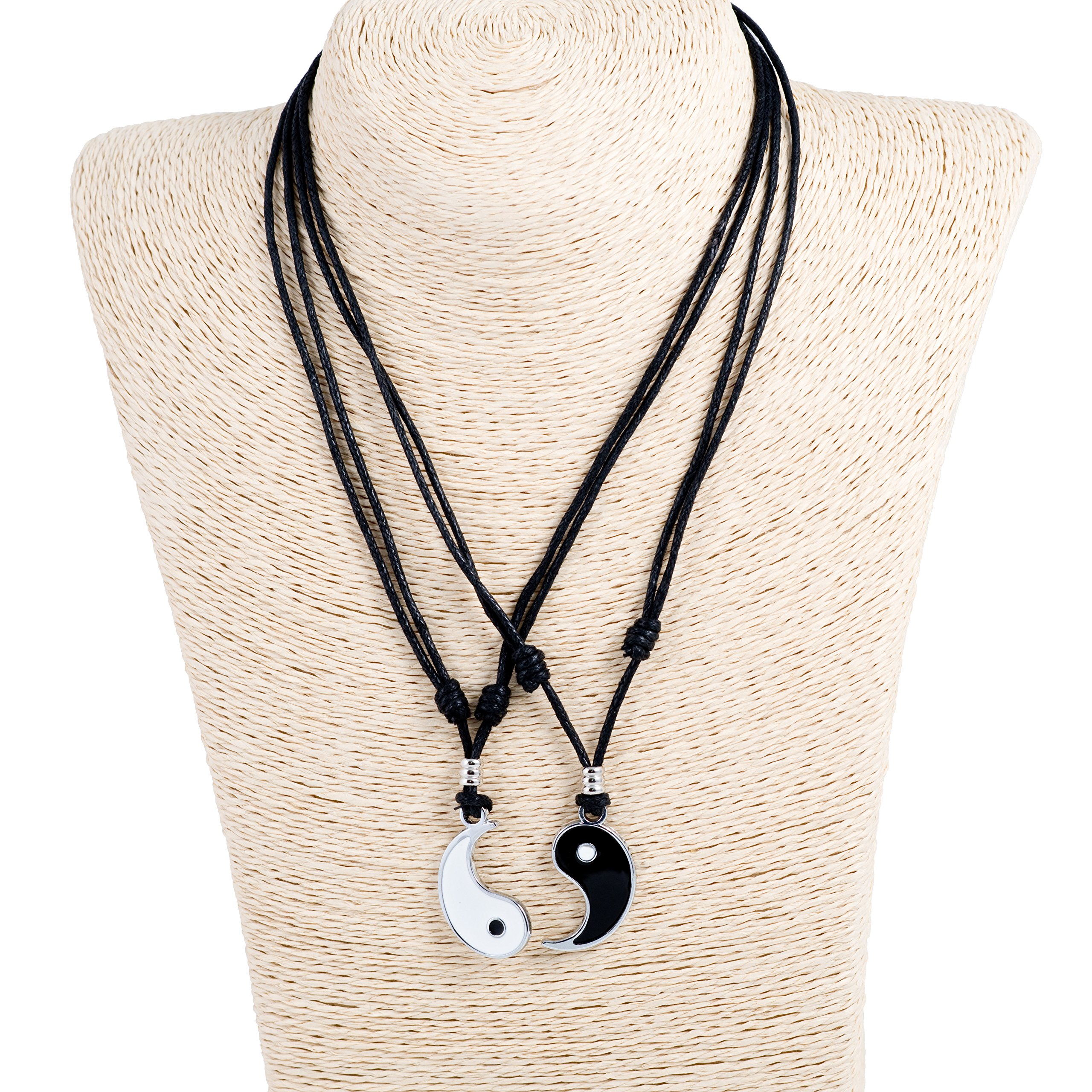 Yin Yang Pendant Couple Set on Adjustable Black Rope Cord Necklaces by BlueRica