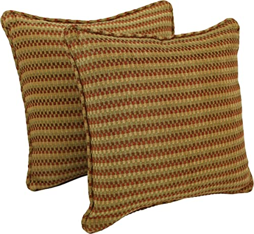 Blazing Needles Double-Corded Square Patterned Jacquard Chenille Throw Pillows with Inserts Set of 2 , 18 , Autumn Gingham