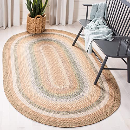 Safavieh Braided Collection BRD314A Hand Woven Tan and Multi Oval Area Rug 8 x 10 Oval