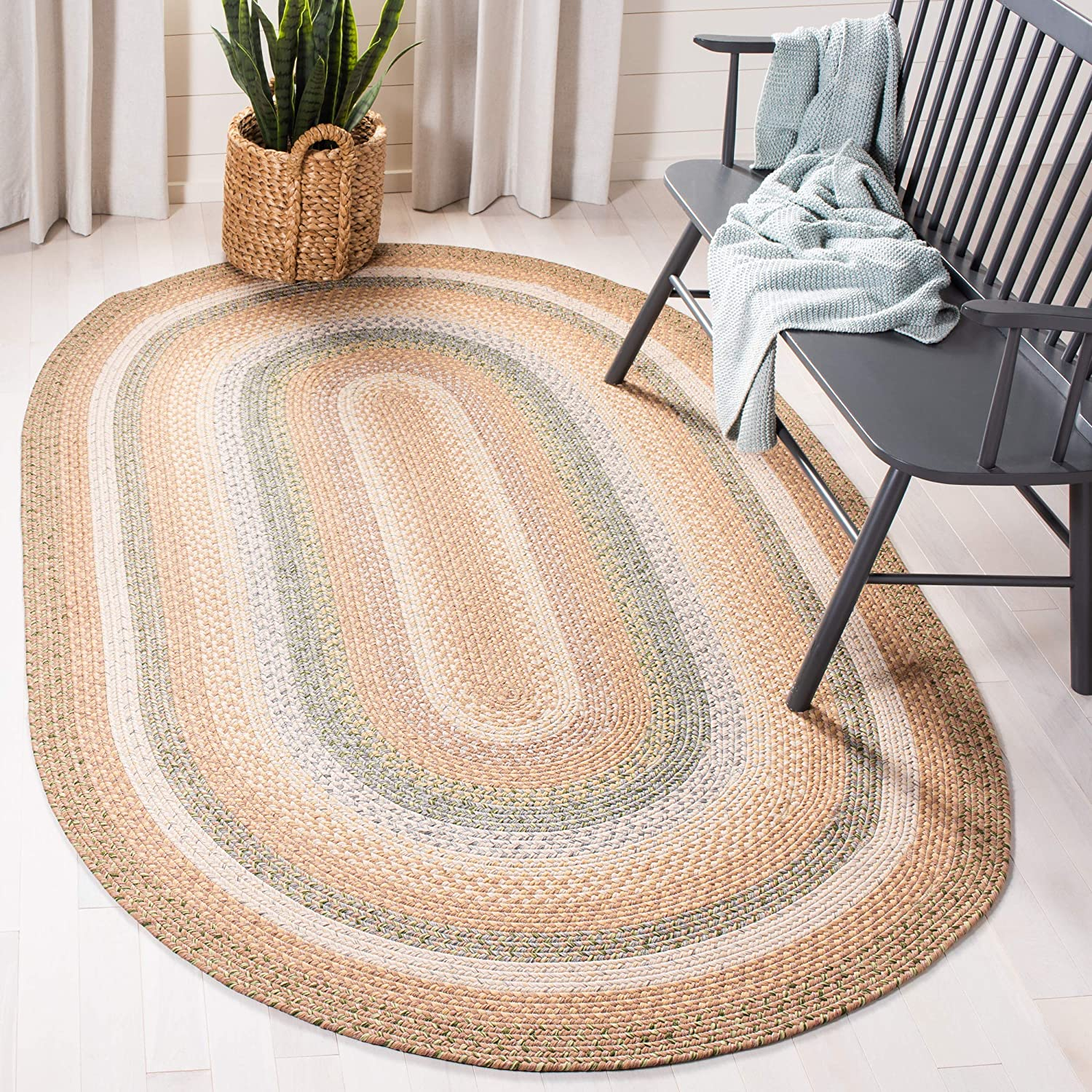 Safavieh Braided Collection BRD314A Hand Woven Tan and Multi Oval Area Rug (6' x 9' Oval)