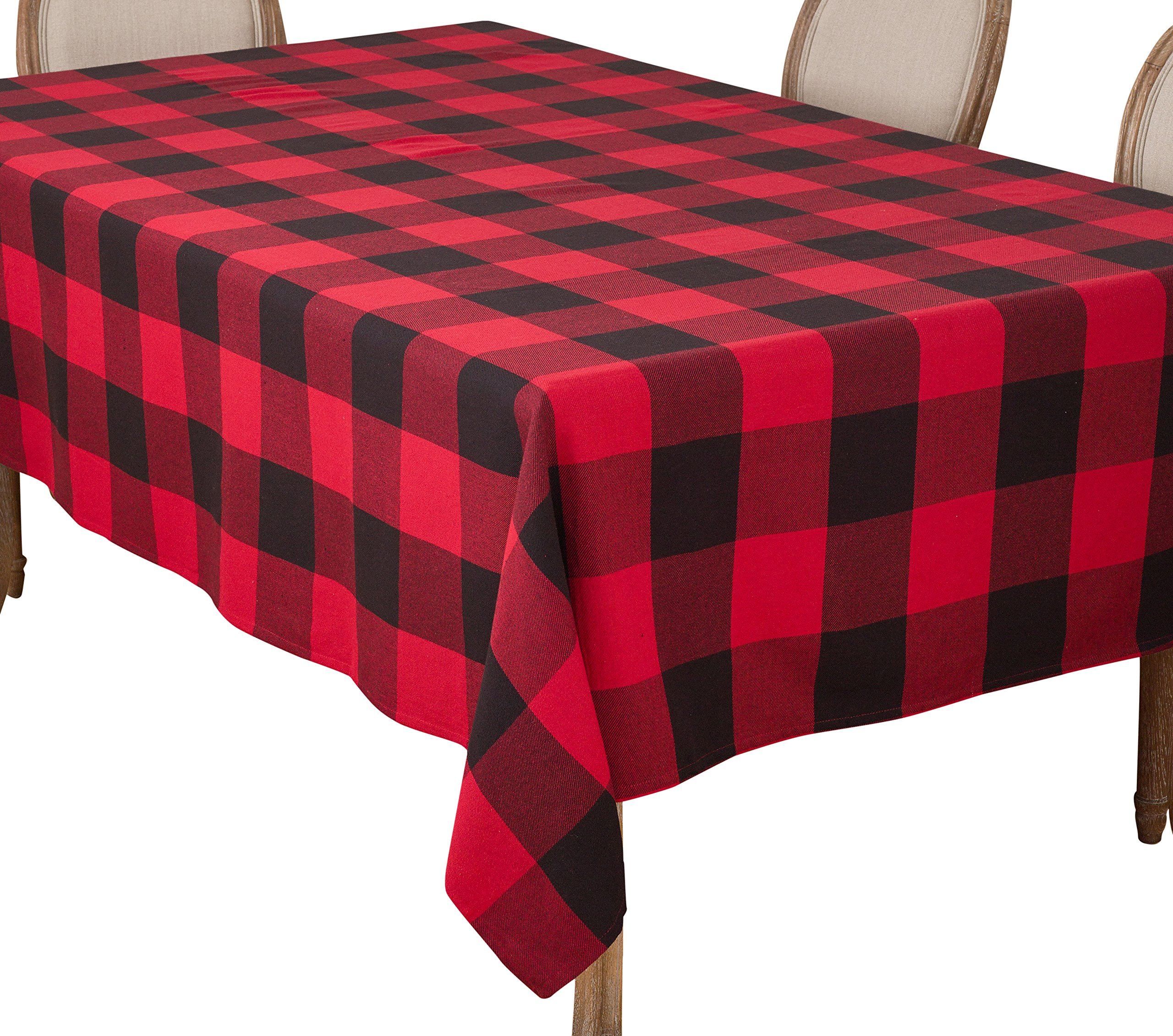 SARO LIFESTYLE Buffalo Plaid Check Design Cotton Tablecloth, 65'' x 160'', Red by SARO LIFESTYLE