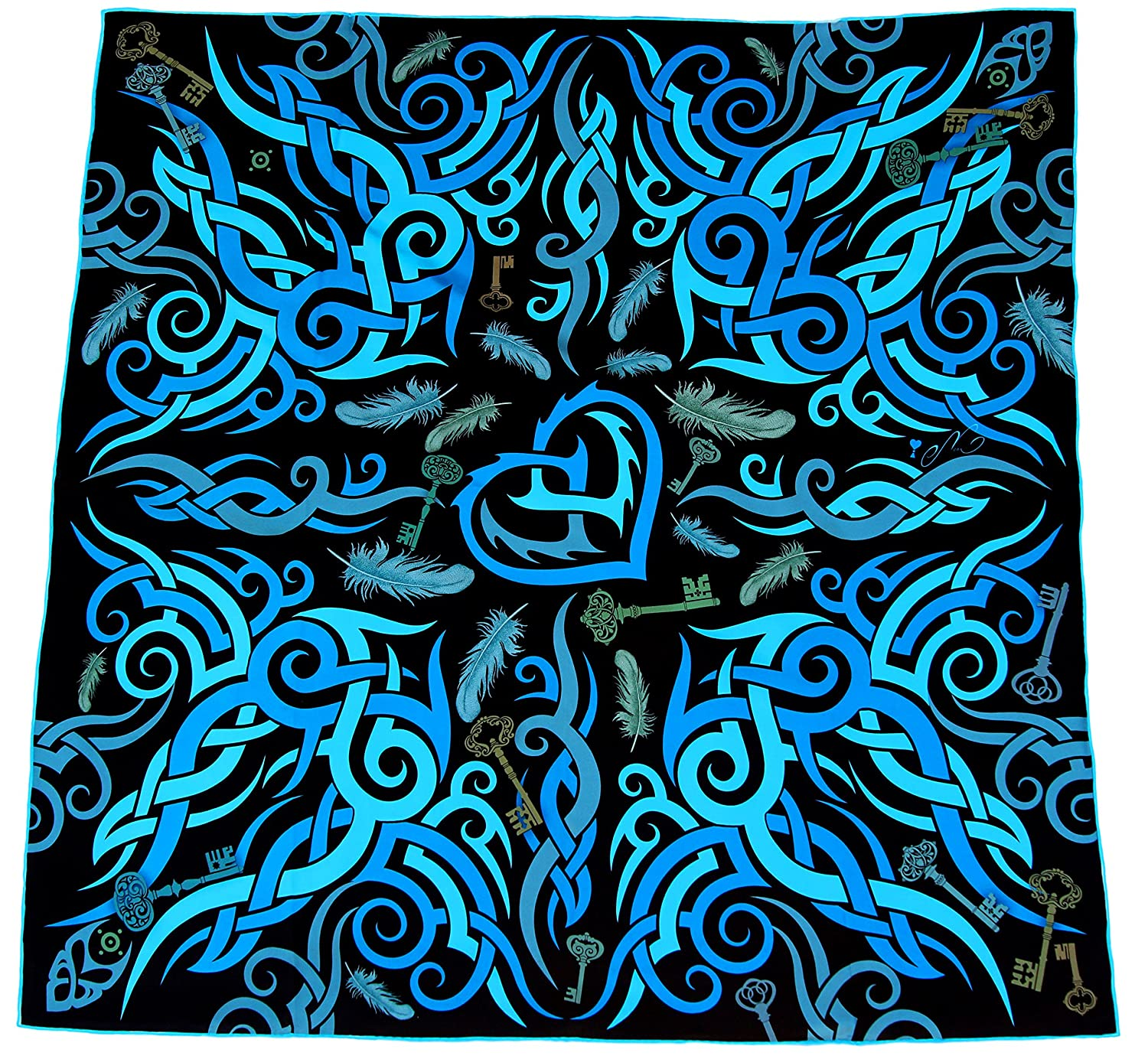 100% silk square scarf black bluee wrap Key To Freedom   tribal tattoo design Never Give Up  printed scarfs