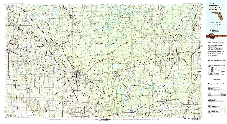 Map Of Lake City Florida.Amazon Com Yellowmaps Lake City Fl Topo Map 1 100000 Scale 30 X