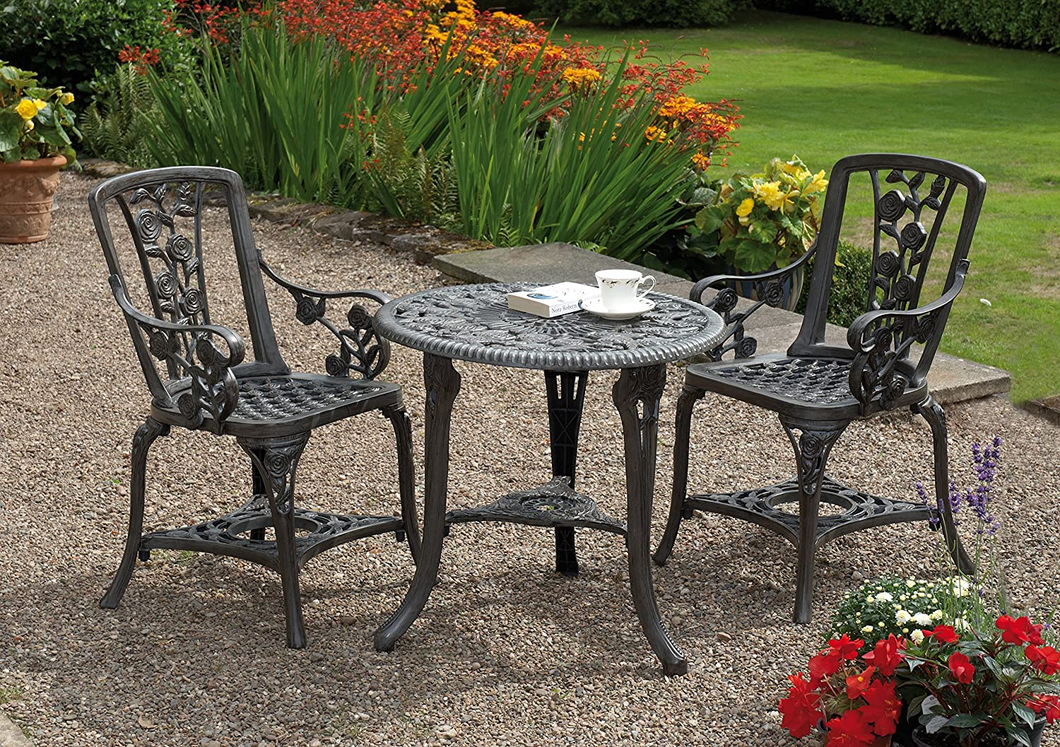 Gablemere 2 Seater Plastic Rose Design Patio Set With Round Bistro Table In  Gun Metal Grey Finish: Amazon.co.uk: Garden U0026 Outdoors