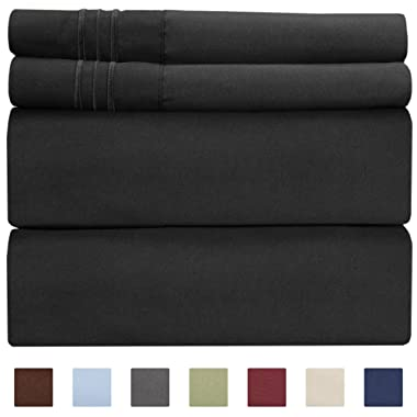 Queen Size Sheet Set - 4 Piece Set - Hotel Luxury Bed Sheets - Extra Soft - Deep Pockets - Easy Fit - Breathable & Cooling Sheets - Wrinkle Free - Comfy - Black Bed Sheets - Queens Sheets – 4 PC