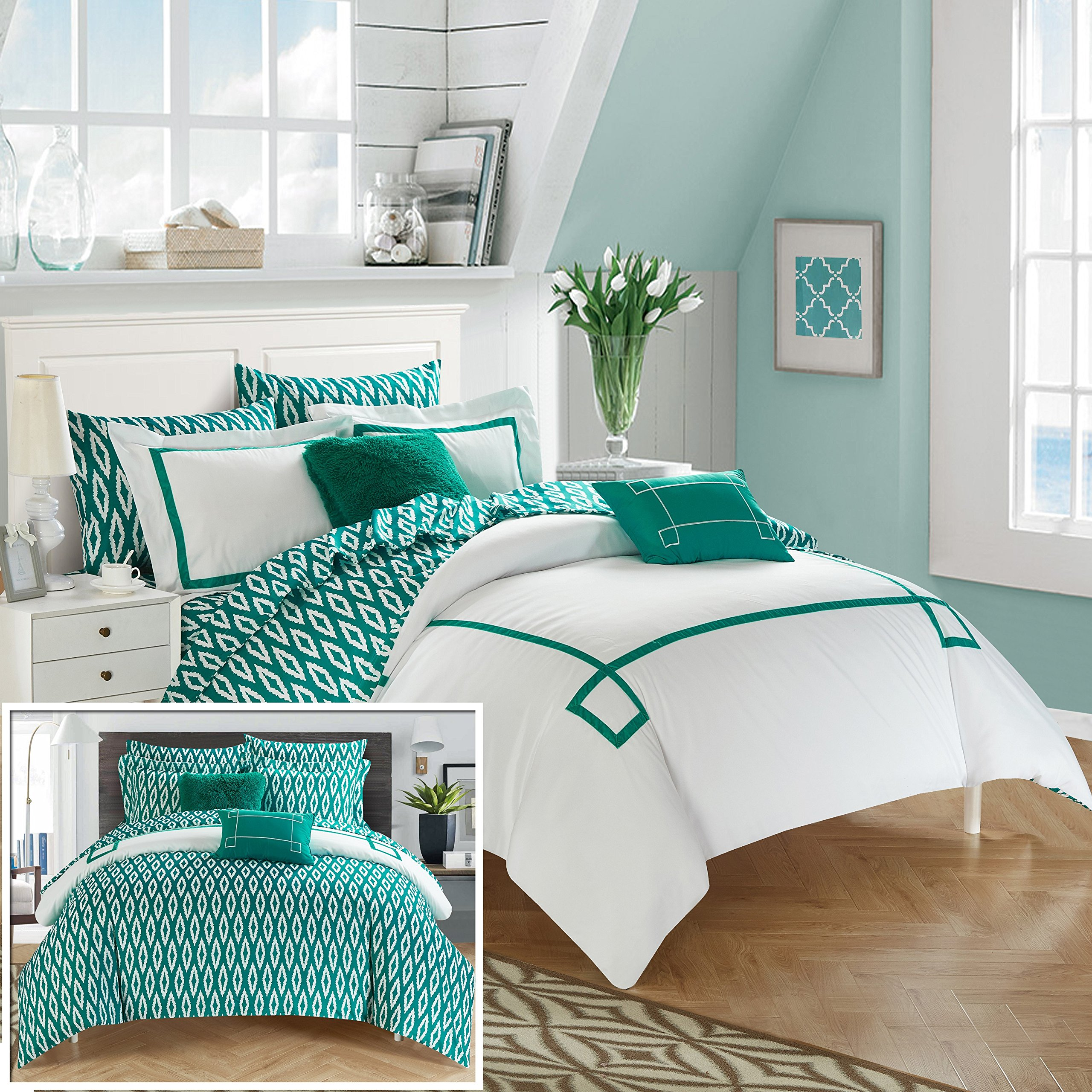 Chic Home CS2946-AN 9 Piece Trace Contemporary Greek Key Embroidered Reversible Bed In A Bag Comforter Set With Sheet Set, Queen, Aqua by Chic Home