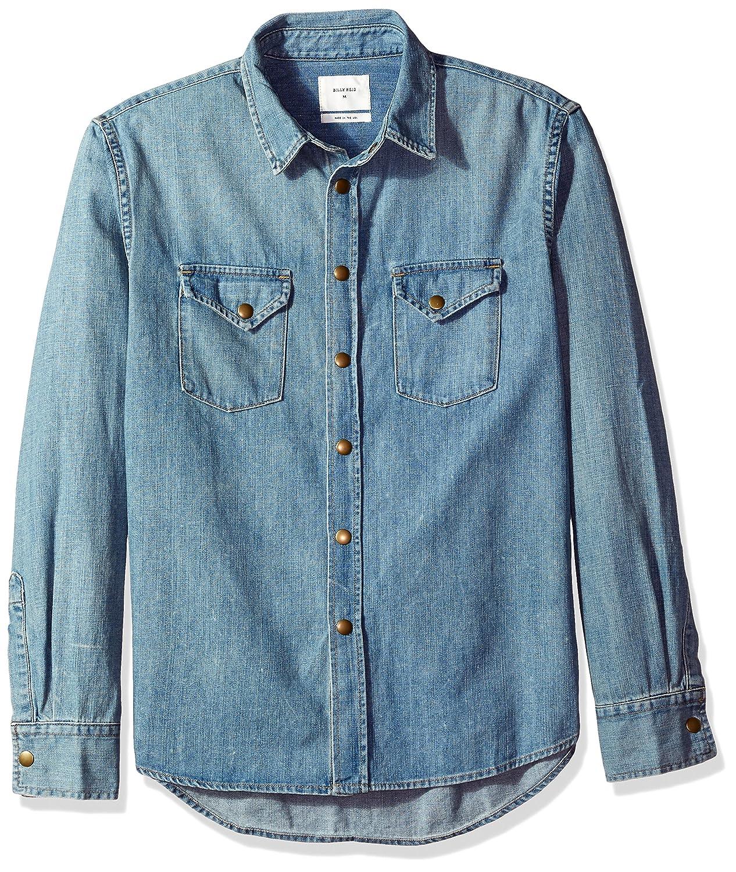 cbe6b18ef5 Amazon.com  Billy Reid Men s Distressed Denim Brass Snap Work Shirt   Clothing