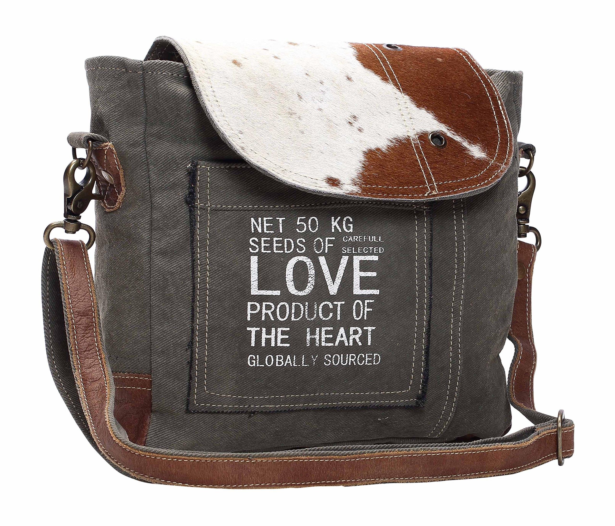 Myra Bag Seeds of Love Upcycled Canvas & Cowhide Shoulder Bag S-1127