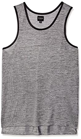 035e3fd2a10b32 GUESS Men s Sleeveless Shiny Long Line Step Hem Tank at Amazon Men s ...
