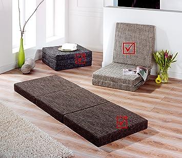 Trend - Colchón plegable para invitados; cama para invitados, color antracita, gris claro y marrón: Amazon.es: Jardín