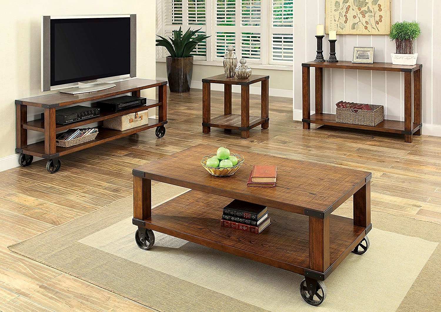 Amazon.com: Furniture Of America Reggio Industrial TV Console, 60 Inch, Dark  Oak: Kitchen U0026 Dining Part 88