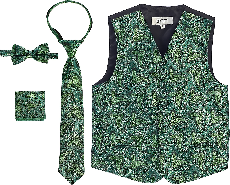 Gioberti Boys 4 Piece Formal Paisley Tuxedo Vest Tie Bowtie Pocket Square Set
