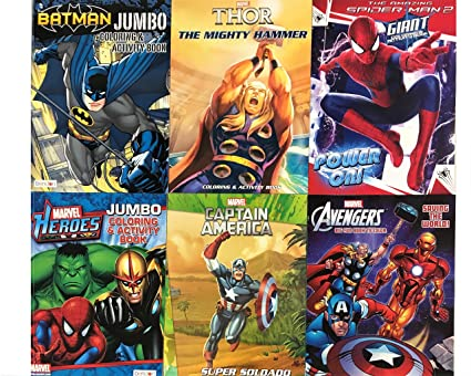 Amazon.com: 6 Pack DC & Marvel Coloring & Activity Books Batman ...