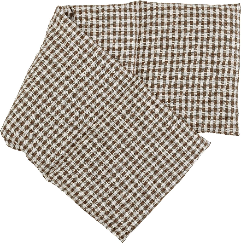 Saco térmico compartimentado en 4 con semillas de lino 60x20cm - moreno y blanco - Almohada térmica para microondas - Calor y frío - Cojín térmico con semillas