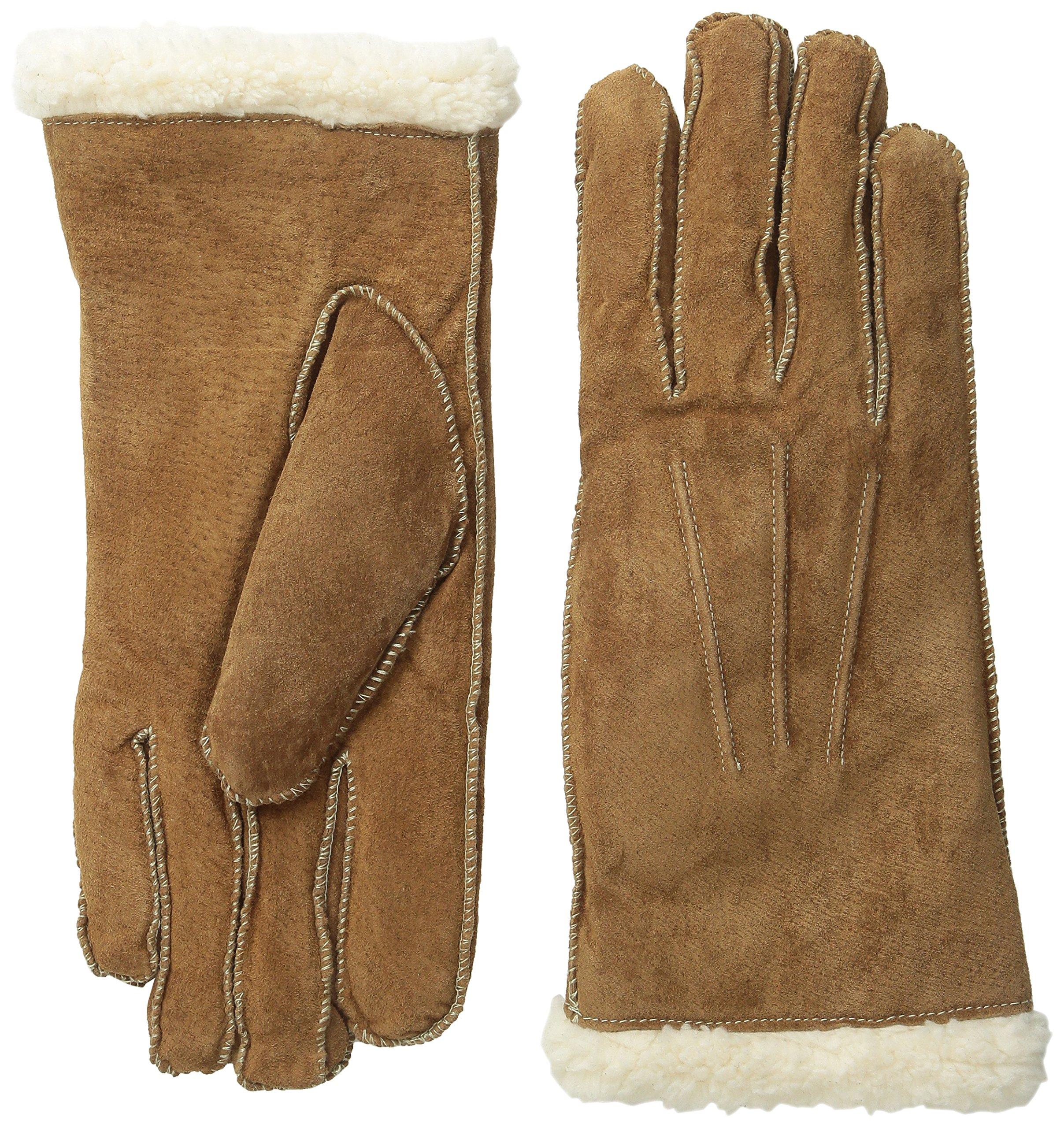 Isotoner Women's Sherpasoft Pigsplit Glove with Moccasin Stitch, Luggage, Large