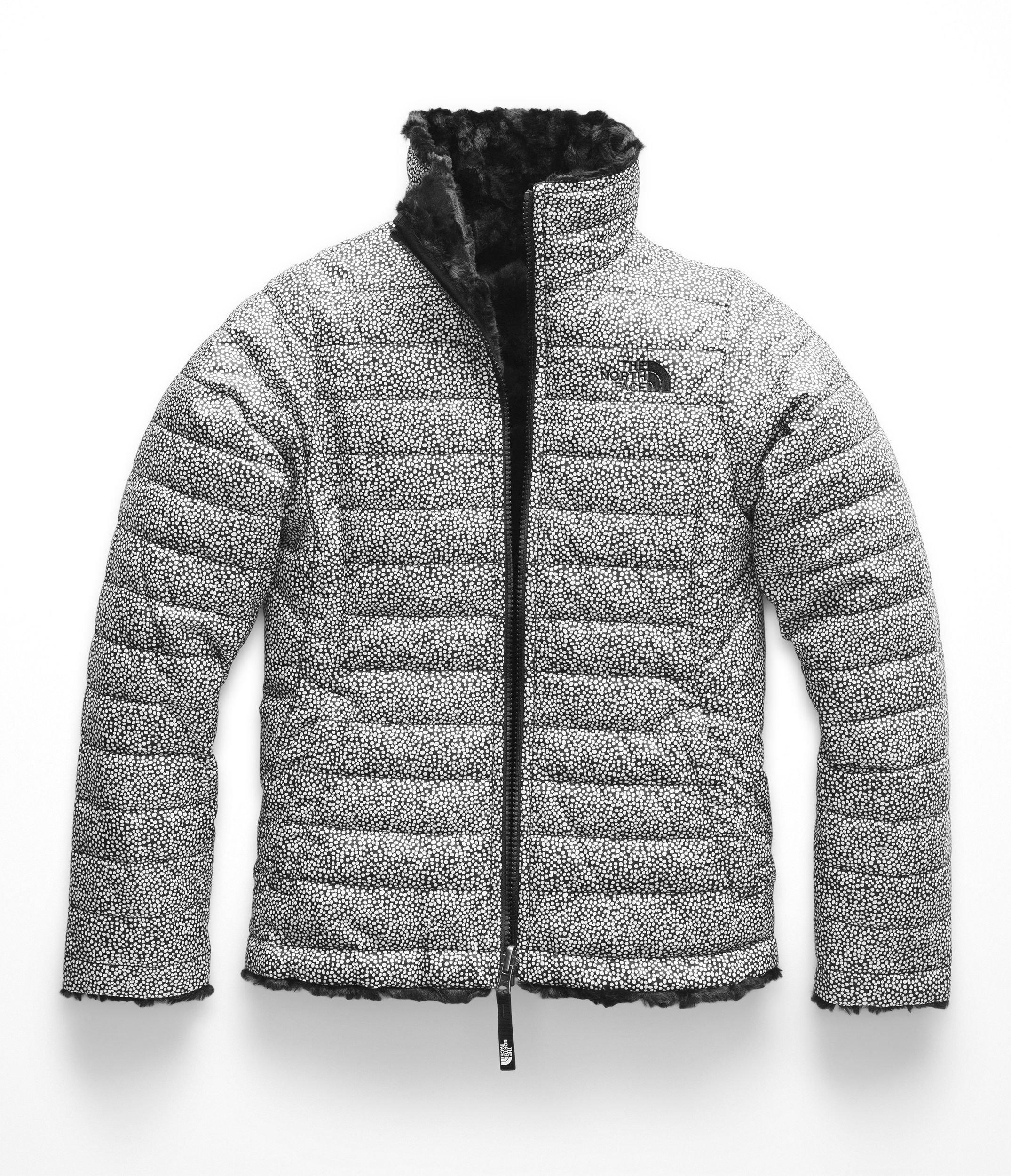 The North Face Girls Reversible Mossbud Swirl Jacket - TNF White Mini Dot Print - M