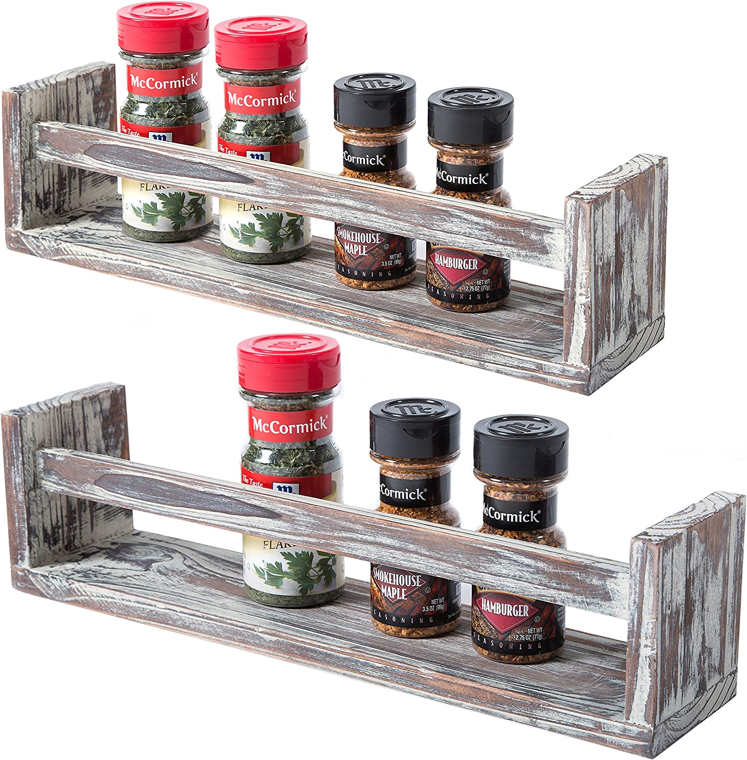 Amazon Com Set Of 2 Wall Mounted Dark Brown Torched Wood Finish Spice Racks Kitchen Storage Shelves Kitchen Dining