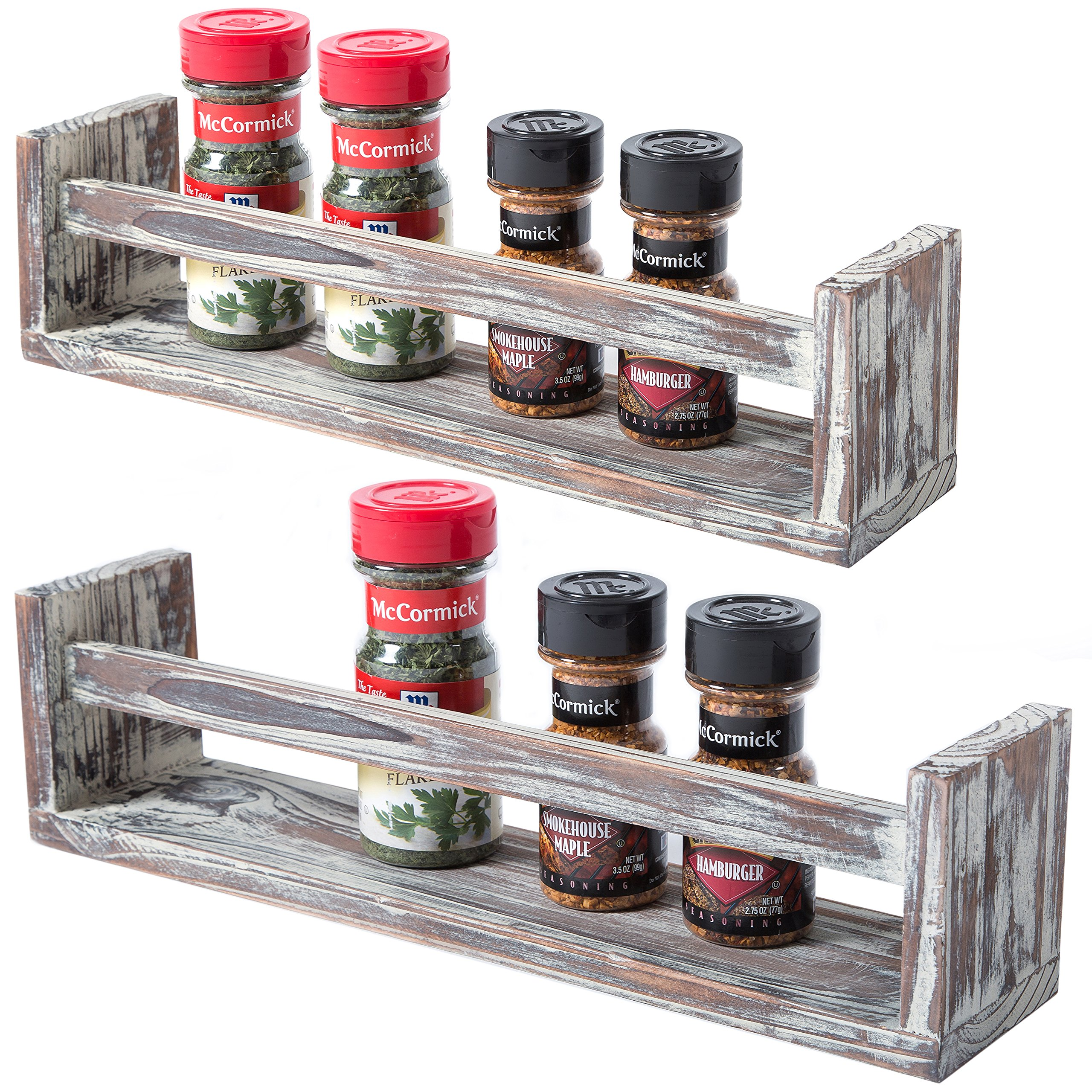 Set of 2 Wall Mounted Dark Brown Torched Wood Finish Spice Racks, Kitchen Storage Shelves