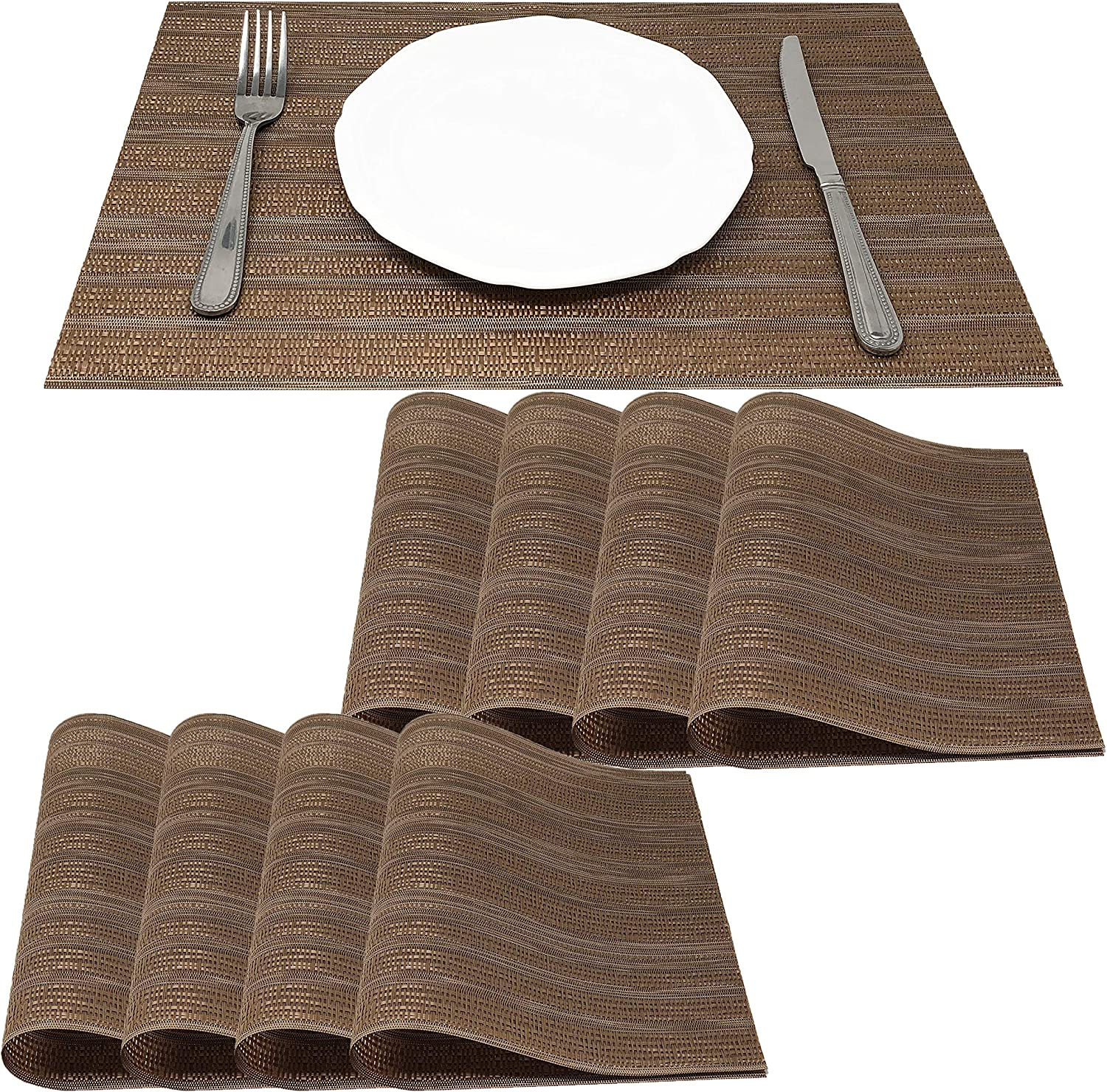 Amazon Com Allgala 8 Pack Dining Table Pvc Placemat Set Protect Table From Heat Stain Scratch And Anti Skid Style Coffee Stripes Hd80202 Home Kitchen