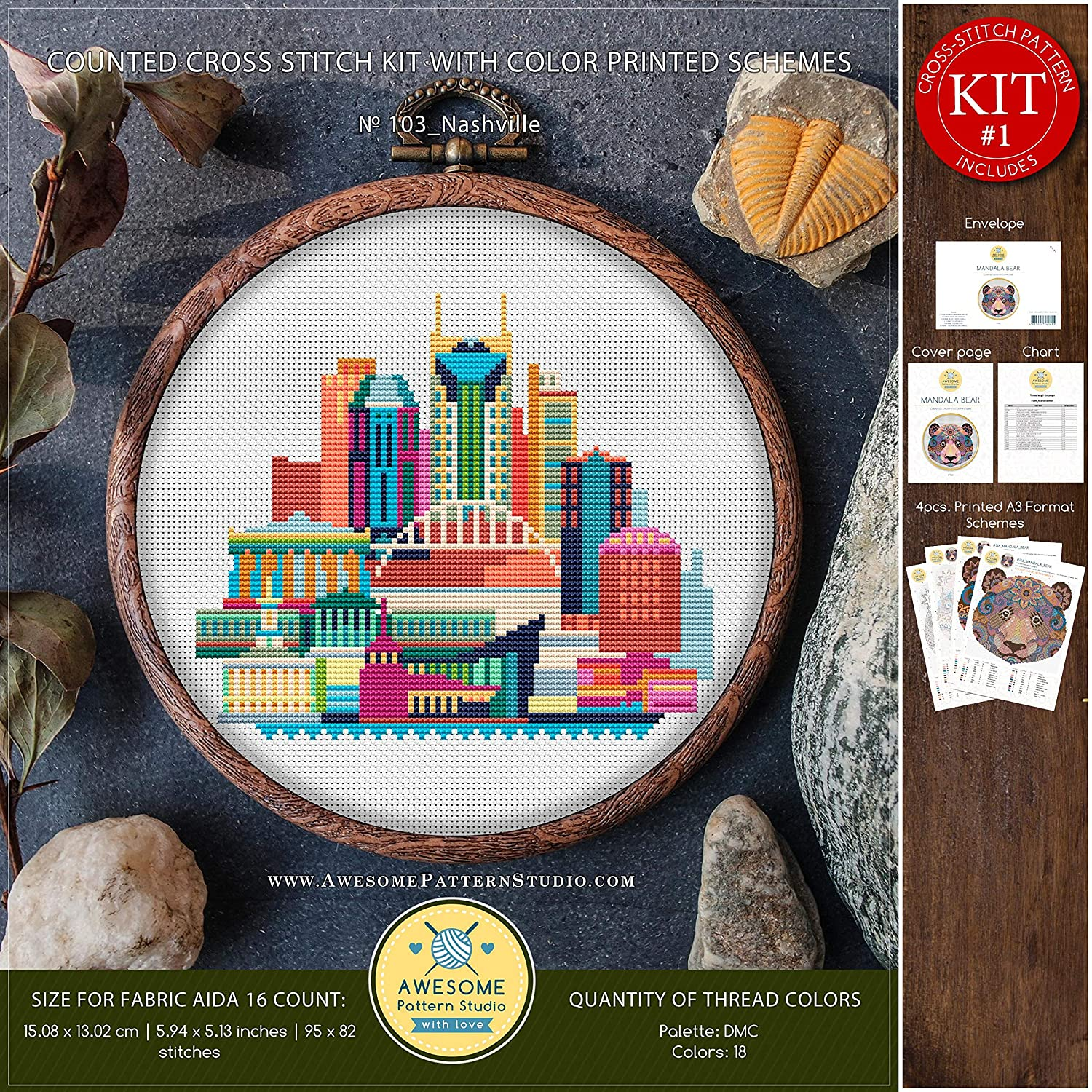 Nashville #K103 Embroidery Kit Needlepoint Stitching City Skyview Cross Stitch Embroidery Embroidery Stitches Embroidery Kits