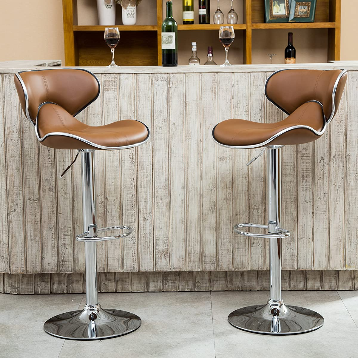 Roundhill Furniture Masaccio Cushioned Leatherette Upholstery Airlift Adjustable Swivel Barstool with Chrome Base, Set of 2, Caramel