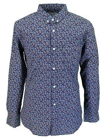 877ad879 Lambretta Retro Button Down Navy/Pink Paisley Long Sleeved Shirt ... (Small):  Amazon.co.uk: Clothing