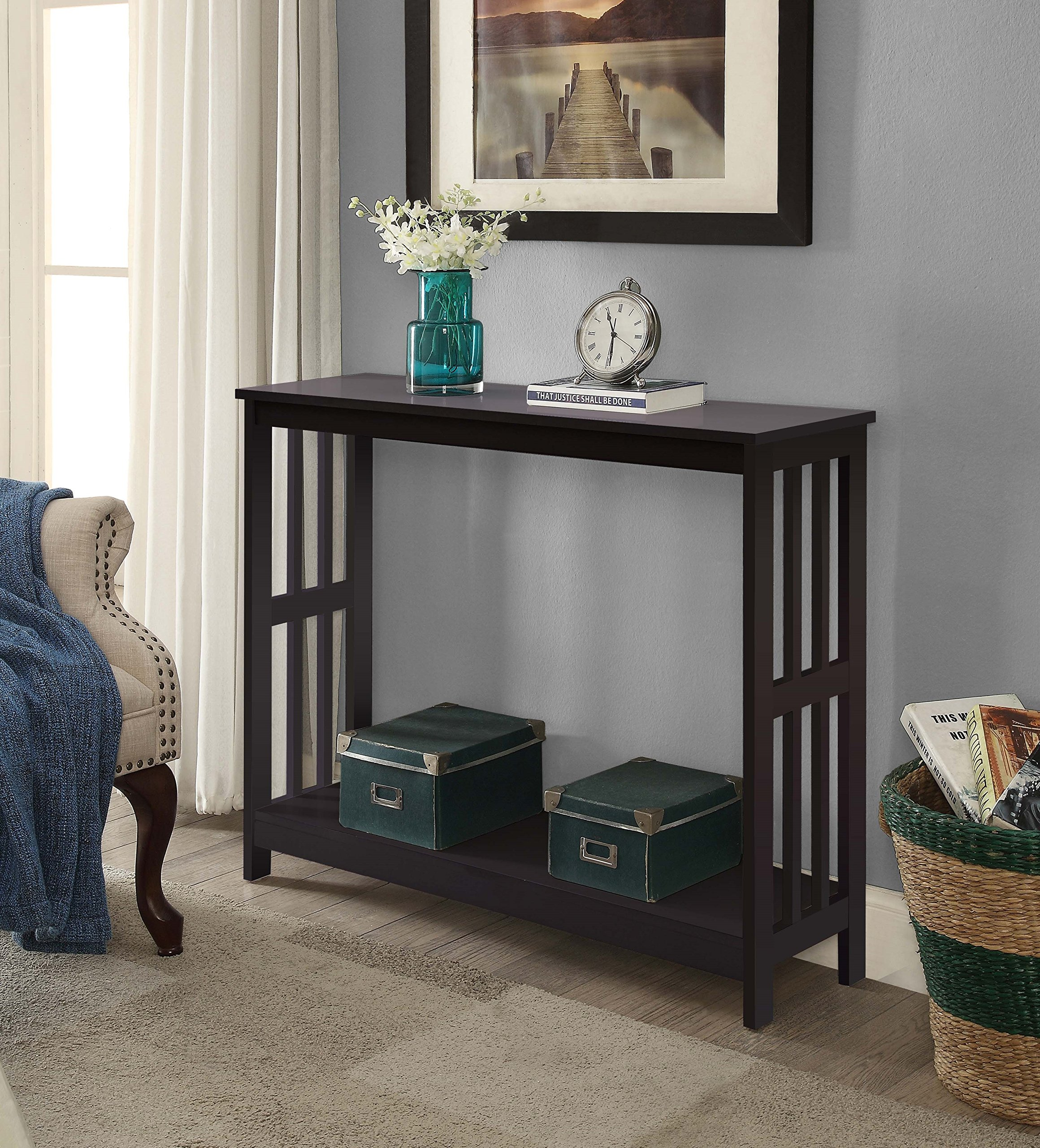 Espresso Finish 2-Tier Occasional Console Sofa Table Bookshelf by eHomeProducts