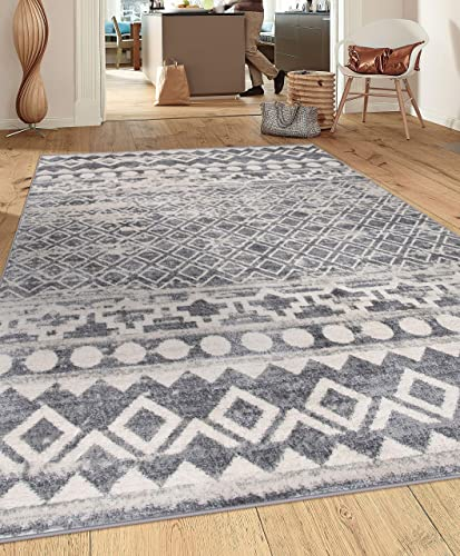 Rugshop Havana Collection Traditional Distressed Bohemian Soft Area Rug 7 10 x 10 Gray