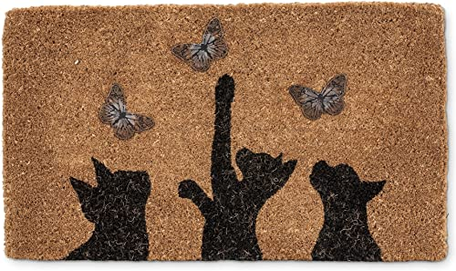 Abbott Collection Cat Butterfly Home D cor Door Mat, Cat and Butterfly