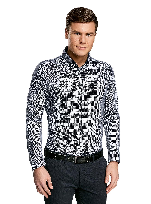 TALLA 39cm / ES 46 / S. oodji Ultra Hombre Camisa Slim con Cuello Doble