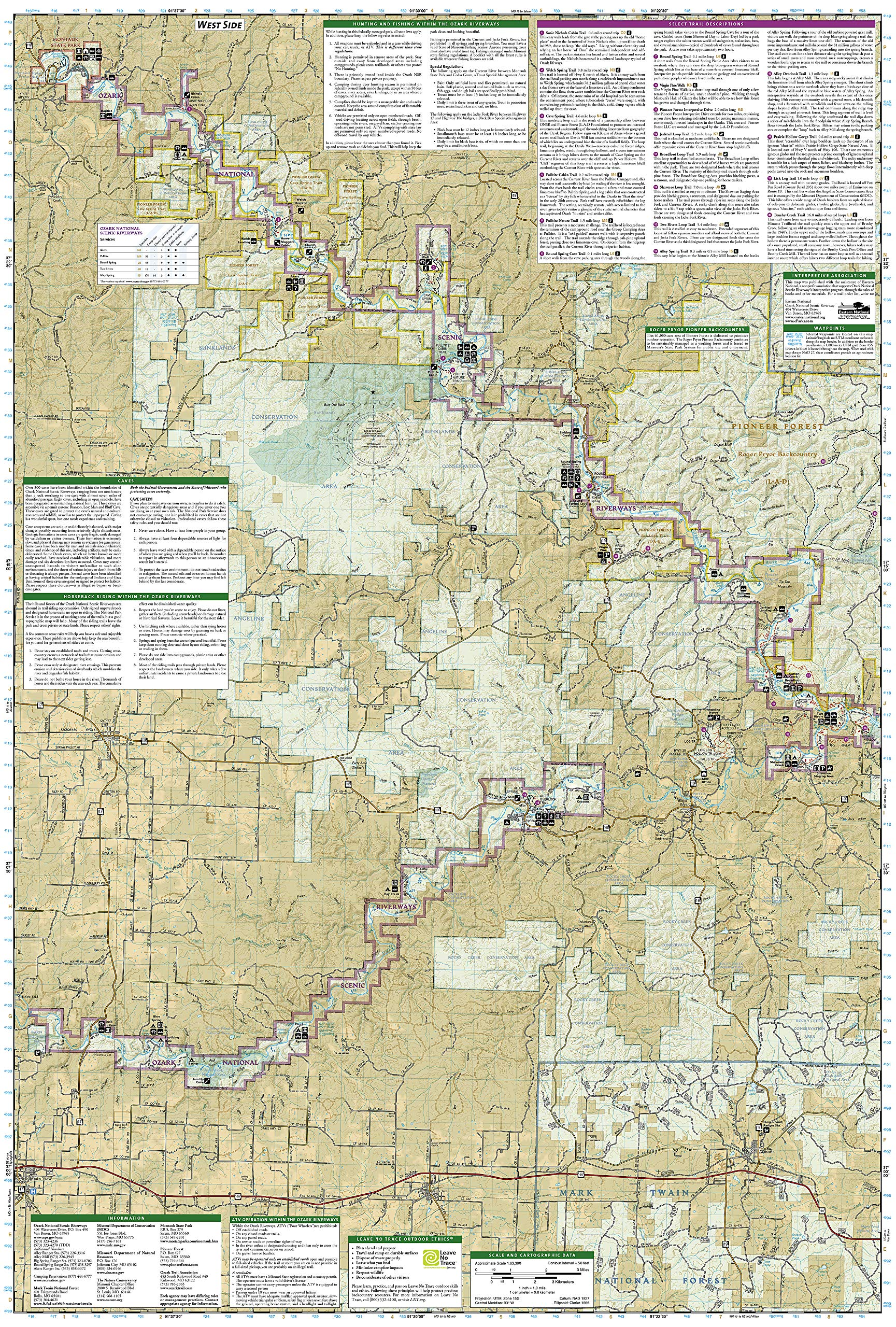 Ozark Mountains Topographic Map.Ozark National Scenic Riverways National Geographic Trails
