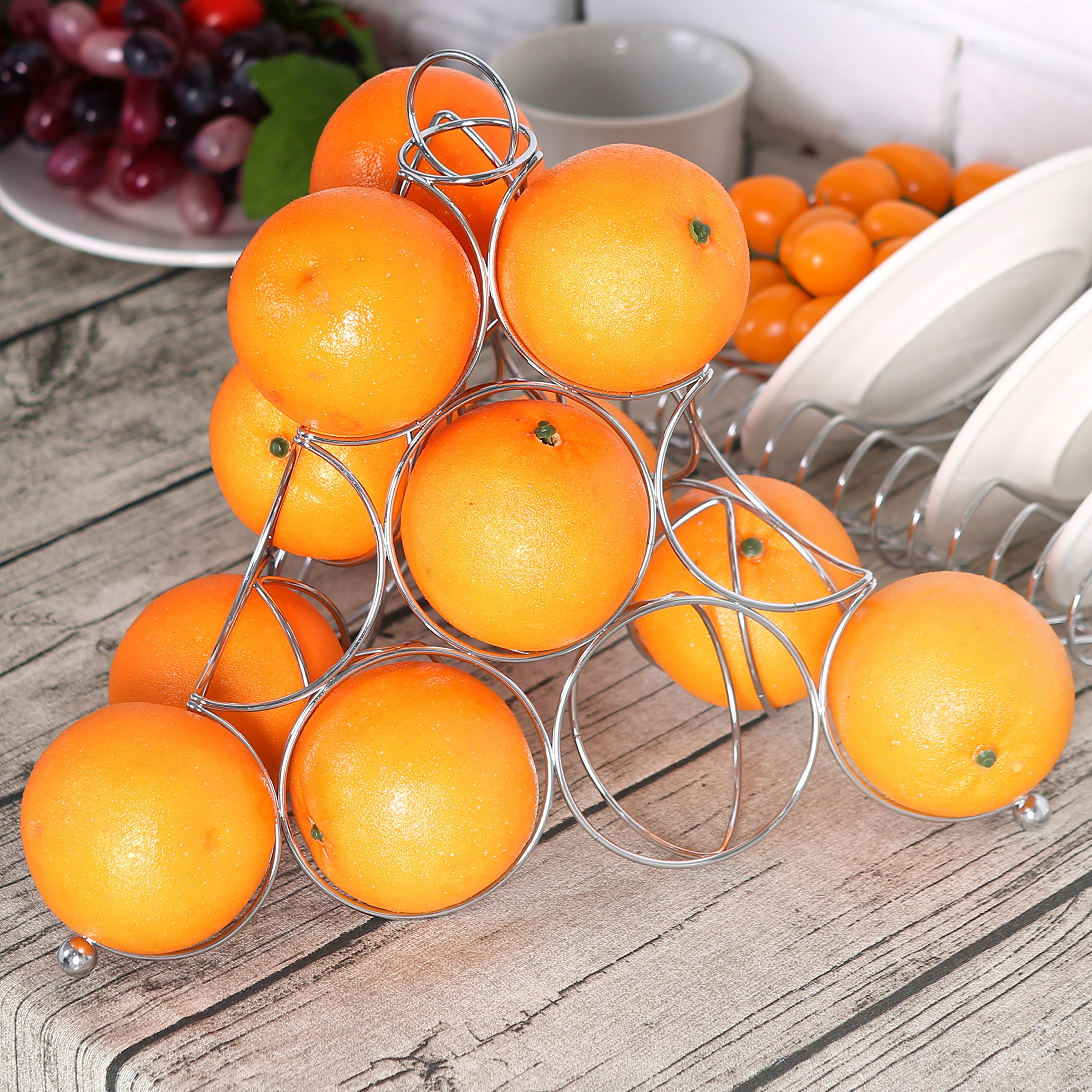 Modern Chrome Pyramid Countertop Fruit Rack, Wire Frame Display Holder, Silver