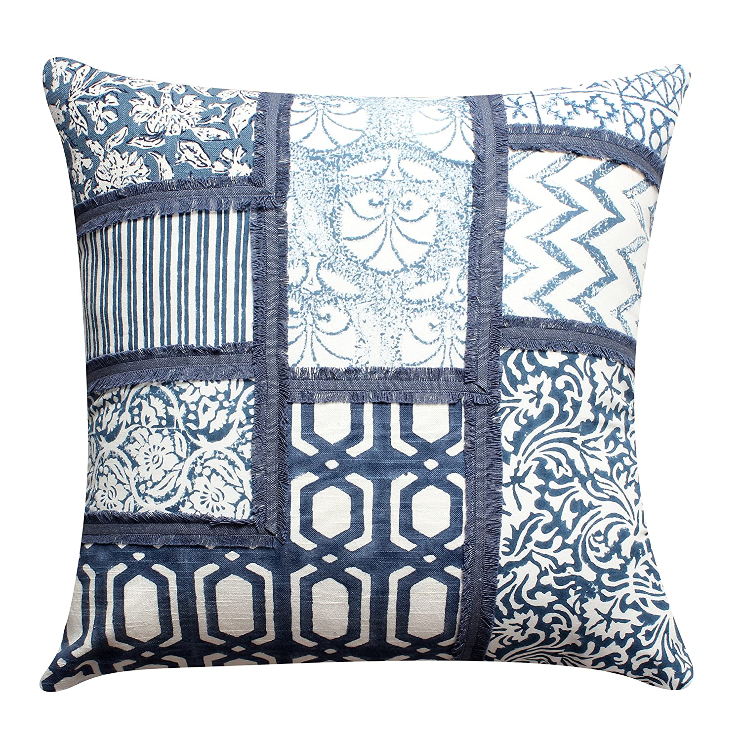 100/% Cotton Decorative Accent Pillows of 18X18 Inch Multicolor ThymeHome Indigo Block Printed Hand Woven Dhurri Indoor Pillow