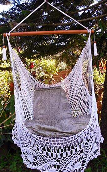 wonderful crochet hammock chair swing 100  handmade   indoor outdoor chair hammock  hanging chair amazon     wonderful crochet hammock chair swing 100  handmade      rh   amazon