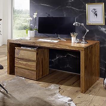 Eckschreibtisch design  FineBuy Schreibtisch Massiv-Holz Sheesham Computertisch 180 cm breit ...