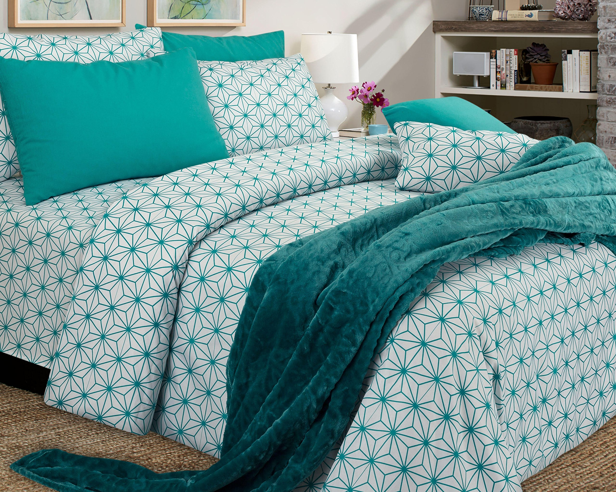 American Thread Collection 6-Piece Microfiber Bed Sheet Set - Deep Pocket - Cool and Wrinkle Free (Queen, Seamless Pattern Teal)